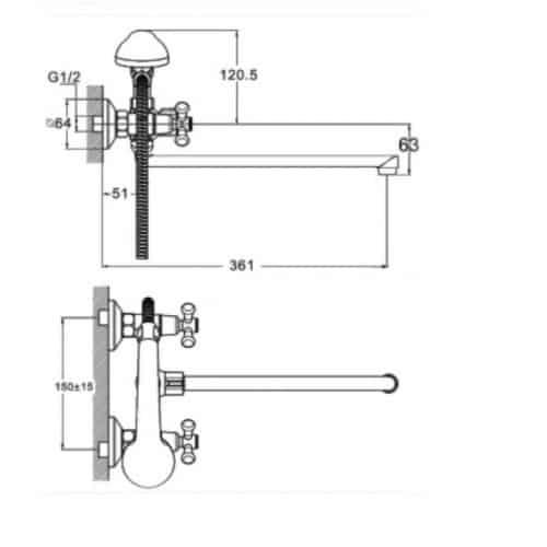 Смеситель для ванны Zegor DMT7-B722