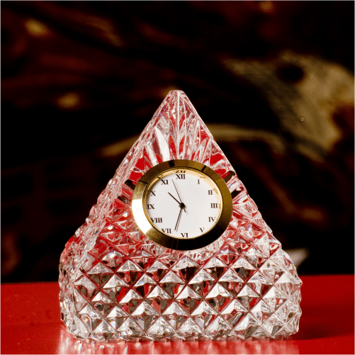 Pyramid Crystal Glass Desk Clock