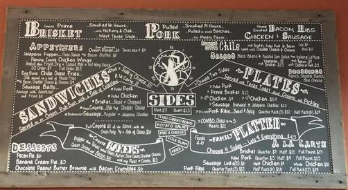 The menu of plates, combos and sandwiches at coyote bbq pub in port angeles.