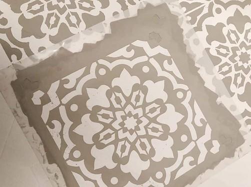 stencil linoleum floors