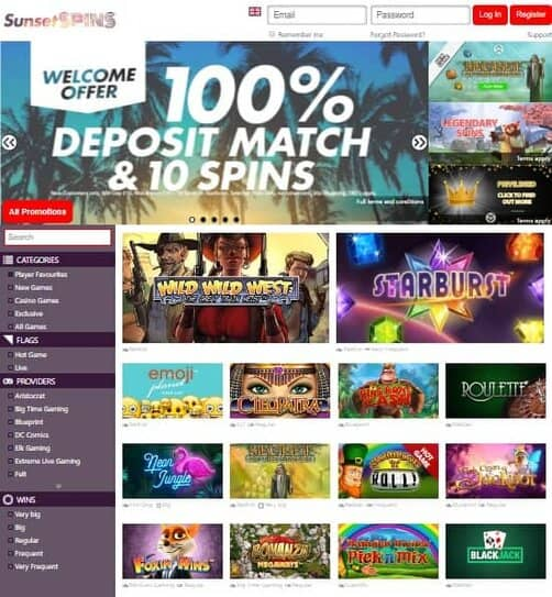 SunsetSpins Casino Review