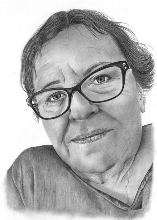 Pencil Portrait of Mature Woman