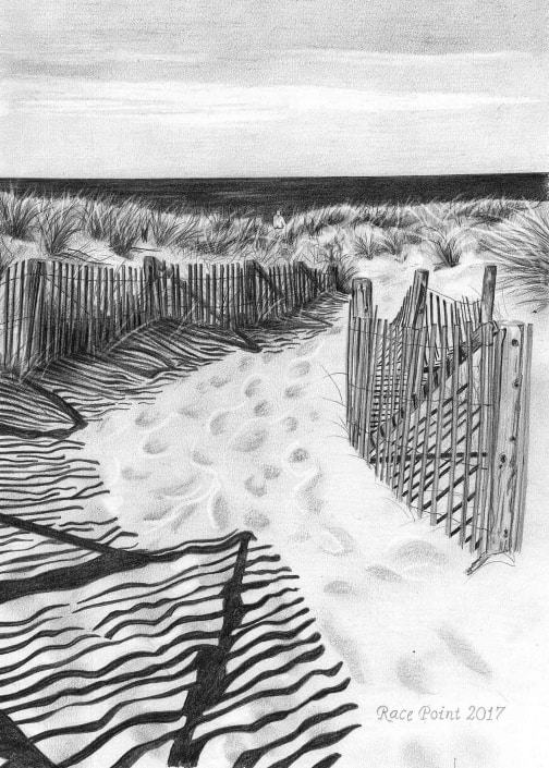 Pencil Drawing of Race Point Beach
