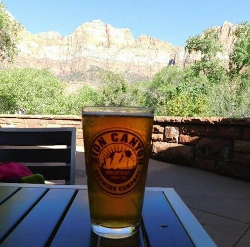 beer with a view at Zion brewing company