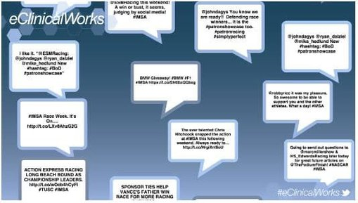 Floating tweets as part of a social media wall used at events and trade shows
