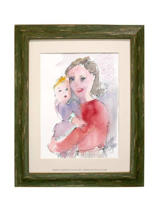 Mother and Child-2-Watercolors ©Yakira Shimoni Fulks—Kira Art and Poetry