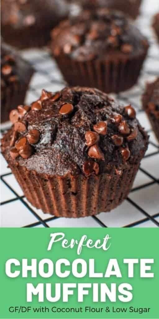 a pinterest image with a close up shot of a coconut flour chocolate muffin with a green section with white text with the recipe title: Perfect Chocolate Muffins. GF/DF with coconut flour and low sugar.
