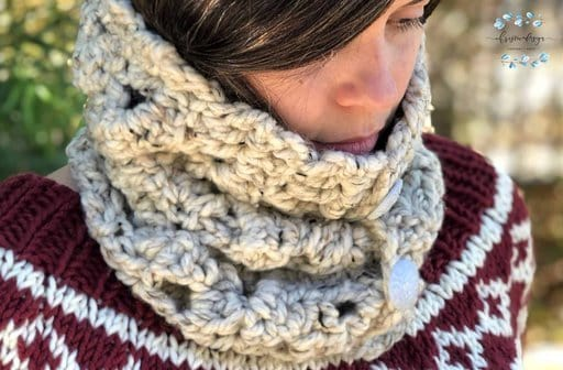 picture of buttoned tall crochet cowl