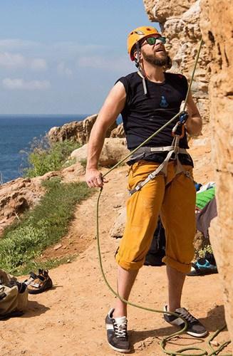 climbing at the coastline