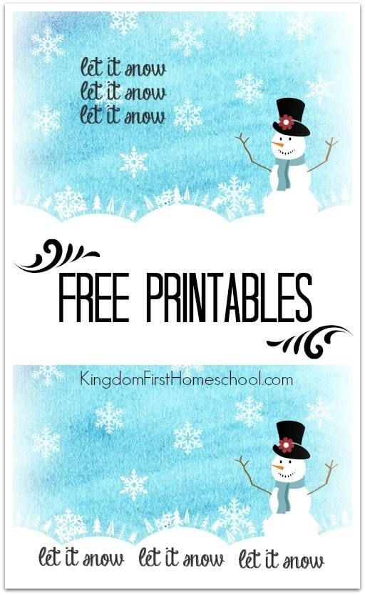 Let it snow free Printable! 2 to choose from! Print it - Frame it - Wrap it - Gift it!!
