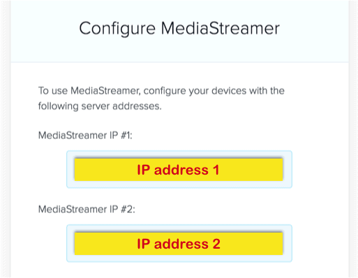 configura ip mediastreamer