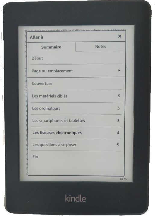 Kindle - sommaire