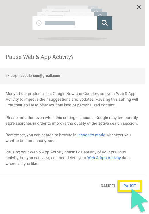 """Google's """"Pause Web & App Activity?"""" screen, with """"Pause"""" button highlighted."""
