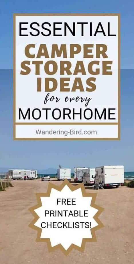 The BEST camper storage ideas and hacks for your motorhome. Want to improve space saving in your RV? Want to solutions for camper organization? These essential camper storage ideas will show you how to pack your RV and make the most of small storage areas. 19 great tips for RV kitchens, camper bathrooms, motorhome living areas and more. Learn the BEST camper storage ideas for RV living. #rvliving #camper #motorhome #storage #packing #rvlife