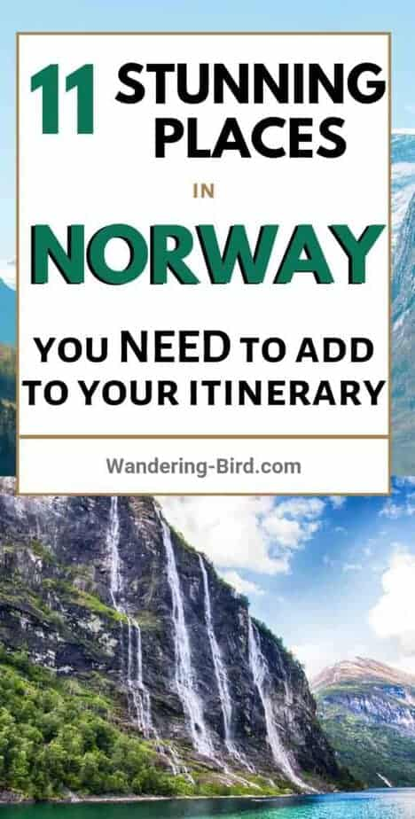 Planning to travel to Norway? Looking for places to visit and things to see? Here are 11 of the most BEAUTIFUL places to see in Norway, with MAP!! There are waterfalls, fjords, towns, cities, tunnels and hikes! Add them all into your perfect Norway road trip itinerary today! #norway #norwaytravel #fjords #waterfalls #itinerary