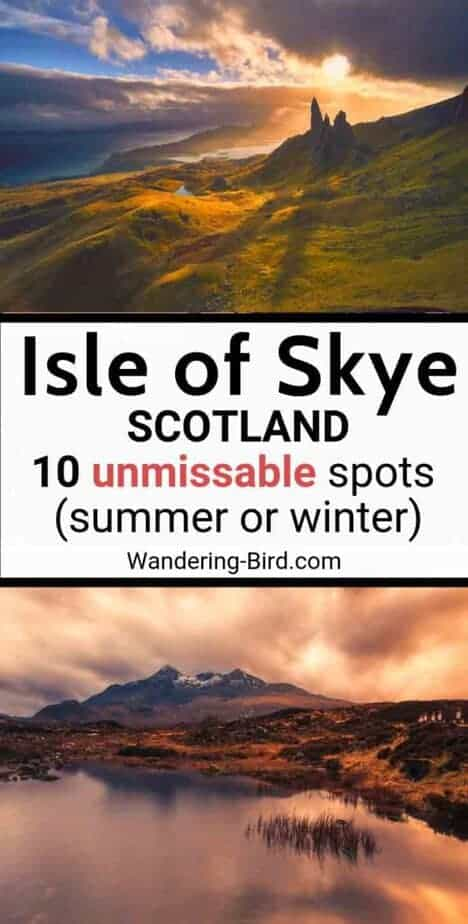 The Isle of Skye, Scotland (with an itinerary map!) Skye is a perfect place for road trips, hiking or photography in summer or Winter. Visit the Fairy Pools, castles, waterfalls and even a GOLD CAVE! Learn about the northern Lights on Skye, take pictures, enjoy beautiful beaches and landscapes- all in one, two or three days. #isleofskye #scotlandtravel #uktravel