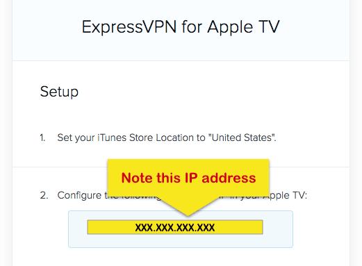 ExpressVPN Apple TV instelscherm met IP adres gemarkeerd.