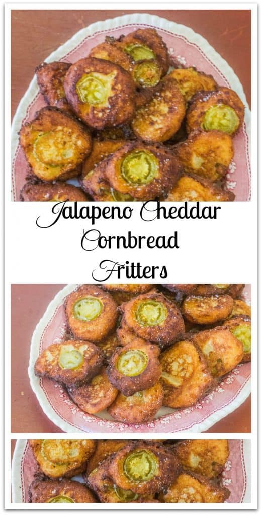 Jalapeno Cheddar Cornbread Fritters. Pickled jalapeno peppers, cheddar cheese and sour cream folded into a cornbread base and fried as a fritter.