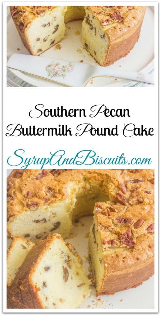 Southern Pecan Buttermilk Pound Cake. A traditional Southern pound cake with added flavor from pecans.