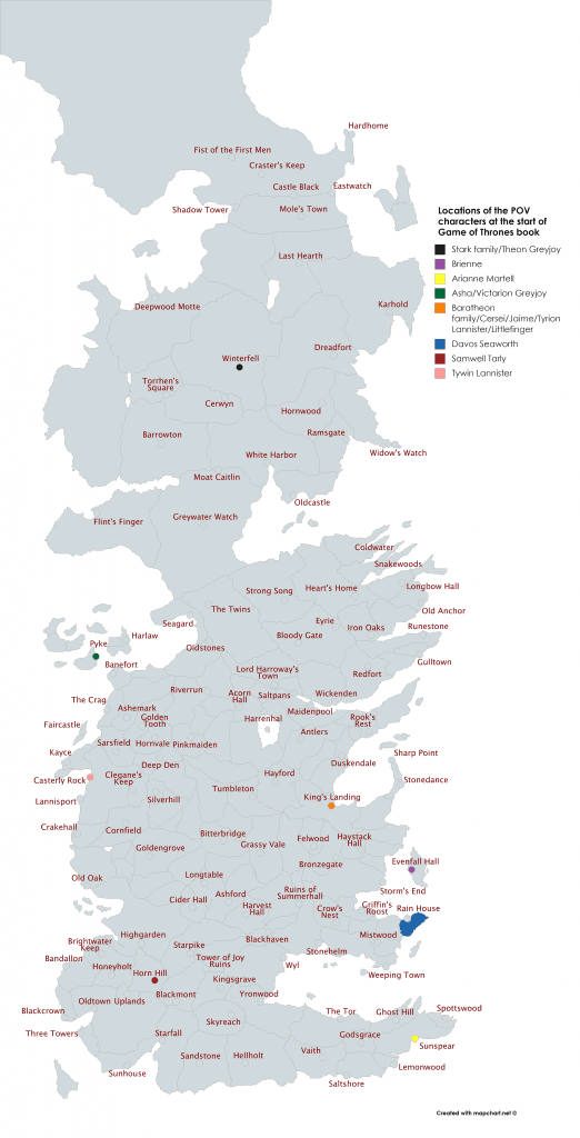 locations of Game of Thrones characters map
