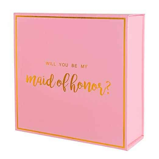 pink maid of honor box with gold foil text for maid of honor gift