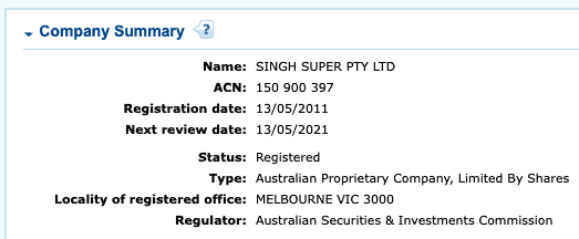 SMSF Account Company Name Stake
