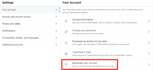 Deactivate your account on twitter web