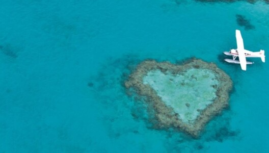 Seaplane at Heart Reef on the Great Barrier Reef