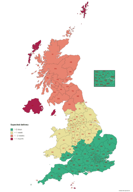UK postcode areas map showing expected delivery times