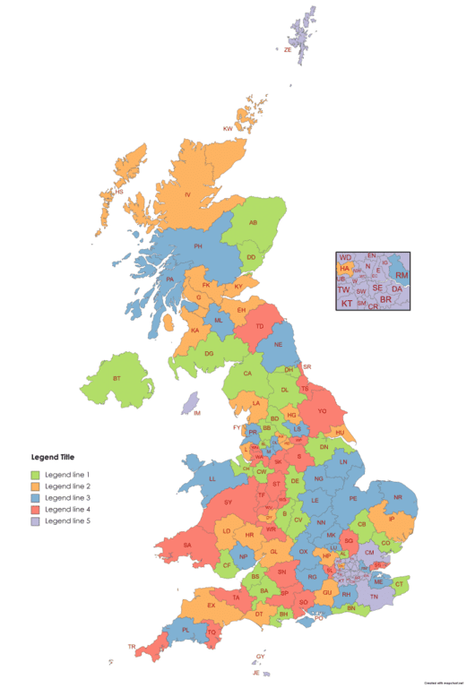 randomly colored UK postcode map