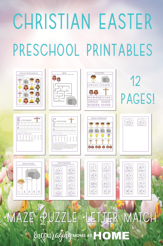 Christian Easter Preschool Printables pages shown on image.