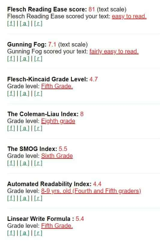 Screenshot of different scores for a readability test