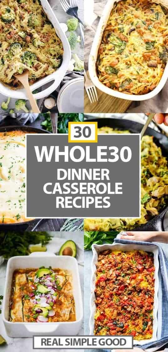 30 healthy casseroles collage long vertical image with text for pinterest