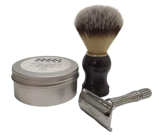 Image shows the shaving soap, shaving brush and razor.