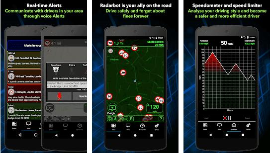 screenshot showing radar locations on roads
