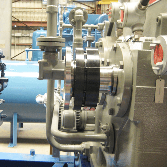 Shrink disc on machine