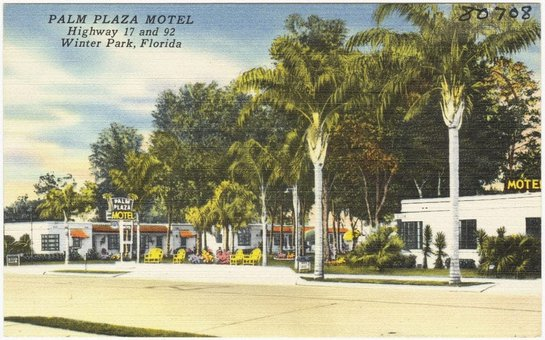 Vintage postcard of Palm Plaza Motel, Highway 7 and 92, Winter Park, Florida