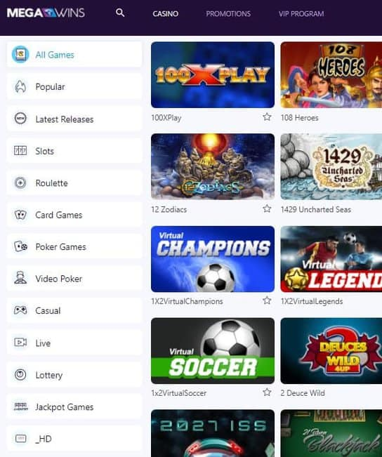 MegaWins Online Casino Bitcoin Games
