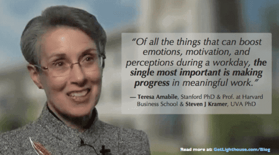 a top manager will know to make incremental progress like Teresa Amabile discovered is key