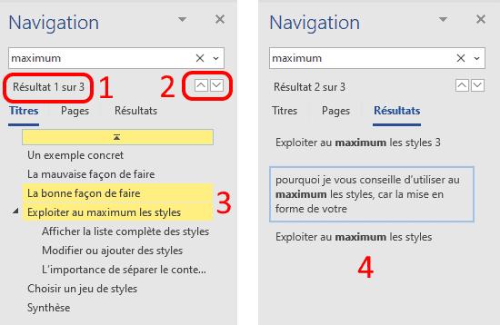 Recherche avec le volet de navigation Word