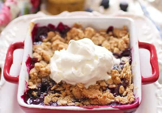 Blueberry Crumble For One | onedishkitchen.com