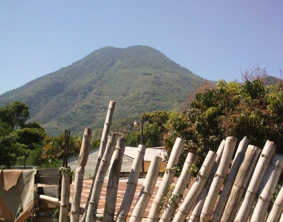 Writing a travel blog under San Pedro volcano