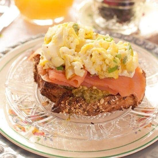 Smoked Salmon with Eggs and Pesto For One | onedishkitchen.com