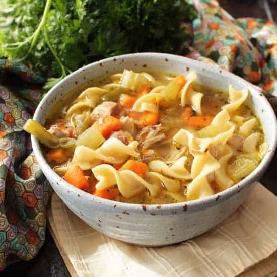 instant pot chicken noodle soup for one   one dish kitchen