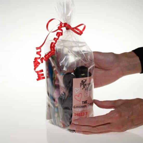 Liquorice Christmas Gift Bag from saint valentines liquorice company online shop valentines-liquorice.uk a variety of liquorice in a gift bag