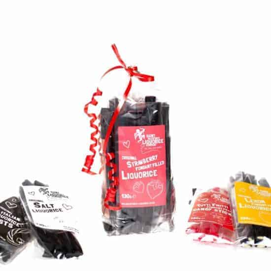 Liquorice gift bag set great Christmas gift packs Saint Valentines Liquorice Company valentines-liquorice.uk