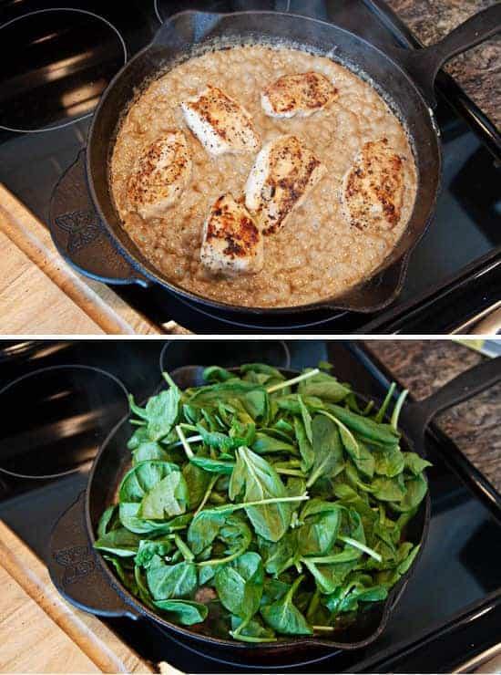 chicken in cream in skillet, spinach