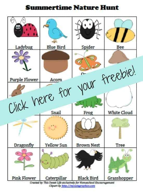 Is being outdoors and exploring nature a favorite summer activity for your family?  If so, why not take along our FREE Summertime Nature Scavenger Hunt Printable?
