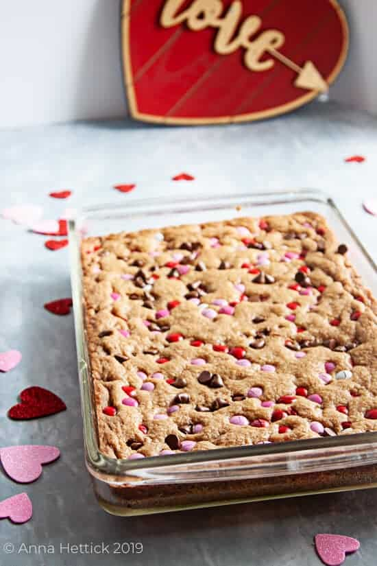 Chocolate Chip M&M Valentine's Day Cookie Bars