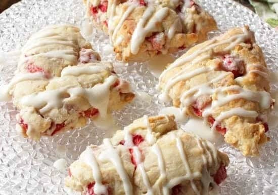 Small Batch Strawberry White Chocolate Scones | One Dish Kitchen
